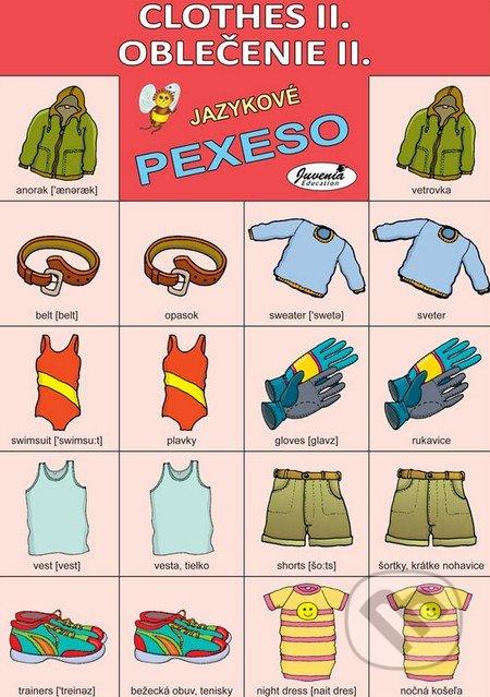 jazukové pexso, anglické pexeso, pexeso angličtina oblecenie